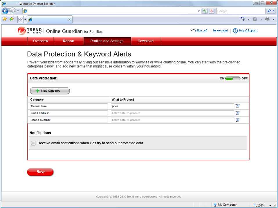 Trend Micro Online Guardian for Families Screenshot